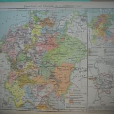 HOPCT DOCUMENT-HARTA VECHE NR 38 GERMANIA/ITALIA  1477 D=320/250 MM LEIPZIG 1918
