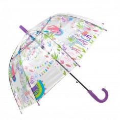 Umbrela pentru fete tip cupola, automata 70 cm Mov/Transparent