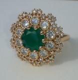 Inel Luxury Cocktail Green Emerald,marimi 6,7,8US