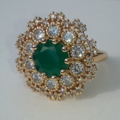 Inel Luxury Cocktail Green Emerald,marimi 6,7US