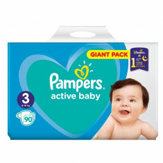 Scutece Pampers Active Baby 3 Giant Pack, 90 buc/pachet