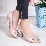 Pantofi decupati dama Piele roz cu toc Rafida-20