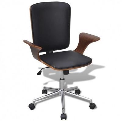 Scaun de birou reglabil din lemn curbat, piele artificială foto