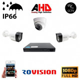 Kit supraveghere video mixt 3 camere 2exterior 2 MP 1080P full hd IR20m si 1 interior 2MP IR20m , live internet SafetyGuard Surveillance