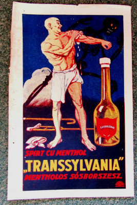 Spirt cu mentol Transsylvania.Cromolitografie Imre Földes Feld, Oradea1923. foto