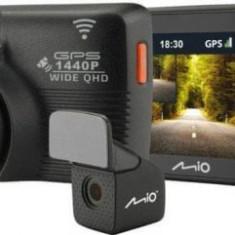 Camera Auto Mio MiVue 752 WiFi Dual, Quad HD (2560 x 1440), LCD 2.7inch, Wi-Fi, GPS + Camera spate (Negru)