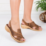 Sandale cu platforma dama piele naturala maro perforate Tinari