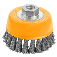 Perie cupa din sarma rasucita cu piulita 125 mm, Industrial, 77510