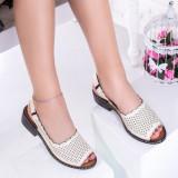 Sandale dama cu toc mic bej Capsidea