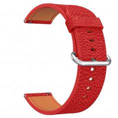 Curea piele, compatibila Huawei Watch GT, telescoape Quick Release, 18cm, Rosu