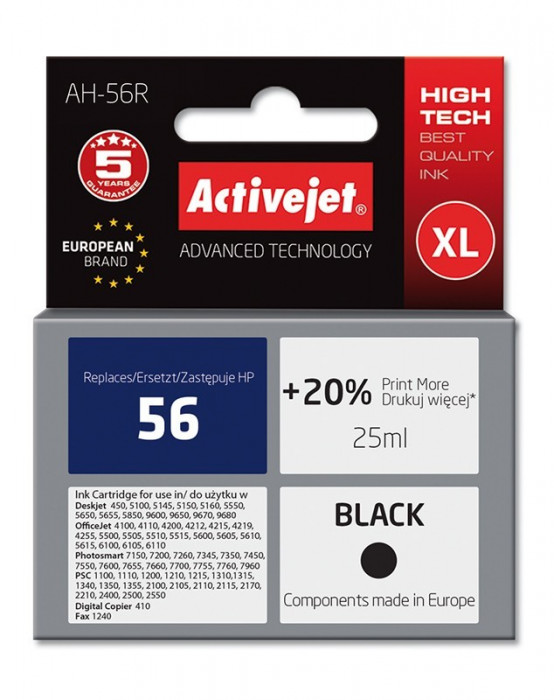 Cartus compatibil 56 XL negru pentru HP, 25 ml, Premium Activejet, Garantie 5 ani