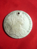 Taler Maria Tereza 1780 SF ,argint , gaurita , folosita ca Medalion ,27,8g