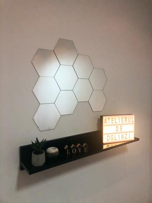 Set hexagoane oglindă cristal argintie.