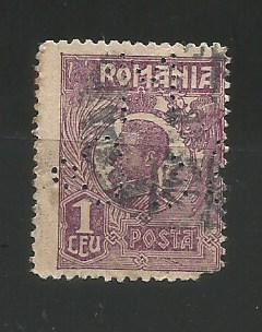 No(08)timbre-Romania 1919-L.P.73-UZUALE FERDINAND-PERFIN MB&Co.-1 LEU foto