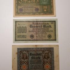 BANCNOTE GERMANIA - 50 MARCI 1919 - 100 MARCI 1920 - 1000 MARCI 1922 - LOT 3 BUC