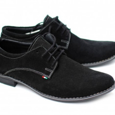 Pantofi negri barbati casual - eleganti din piele naturala intoarsa - Made in Romania