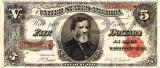 5 dolari 1891 Reproducere Bancnota USD , Dimensiune reala 1:1