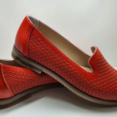 Pantofi dama 100% piele naturala cu talpa joasa perforati