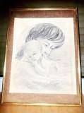 C338-Tablou creion mama cu copil A. Hofmann 1983. Hartie pe carton rama lemn., Portrete, Ulei, Realism