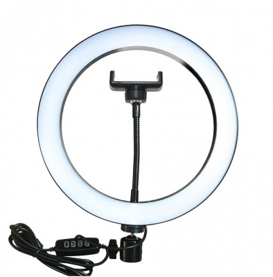 Lampa circulara usb 26cm cu suport telefon - Puluz foto
