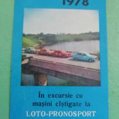 CCO 1978 - CALENDAR DE COLECTIE - TEMATICA RECLAMA - LOTO PRONO - ANUL 1978