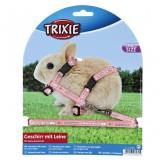 Ham şi lesă pentru iepuri pitici - roz