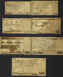 Set 7 bancnote Euro placate cu aur 24k Gold Set colectie