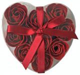 Cutie cadou cu 9 trandafiri rosu
