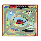 Covoras de joaca cu masinute Circuitul Melissa & Doug, 99 x 91 cm, Multicolor