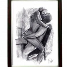 Tablou inramat desen original in creion barbat nud marime A4