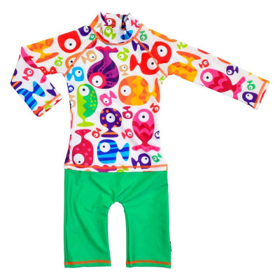 Costum de baie Funny Fish marime 74- 80 protectie UV Swimpy for Your BabyKids foto