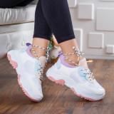 Pantofi sport Daena albi cu mov -rl