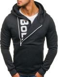 Bluză pentru bărbat cu glugă și imprimeu grafit Bolf 01S