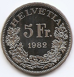Elvetia 5 Francs 1982 (Gotthard Railway) Cupru-nichel, PROOF, KM-61 UNC !!! foto