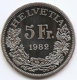 Elvetia 5 Francs 1982 (Gotthard Railway) Cupru-nichel, PROOF, KM-61 UNC !!!