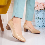 Pantofi cu toc mic dama bej Biledia