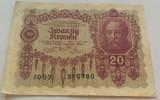 Bancnota ISTORICA 20 COROANE - AUSTRO-UNGARIA (AUSTRIA), anul 1922 *cod 145