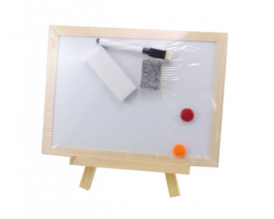 Tablita de jucarie copii din lemn, cu 2 fete, marker, creta si burete foto