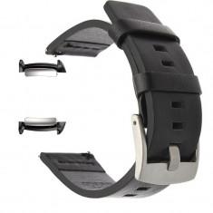 Curea piele naturala, adaptorare Samsung Gear Fit 2, Negru/Argintiu