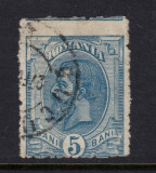 ROMANIA 1900 - SPIC 5 BANI ALBASTRU EROARE DANTELURA DEPLASATA CIRCULAT, Stampilat