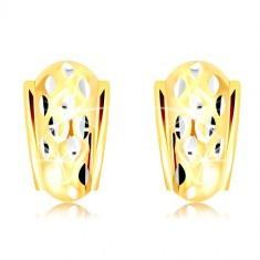 Cercei din aur de 14K - arc atipic decorat cu boabe mici din aur alb