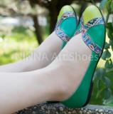 Balerini de dama din piele Ninna Art 315 verde, 35 - 40, Piele naturala