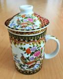 Infuzor / Cana  ceai - cu infuzor + capac - portelan China - motiv oriental