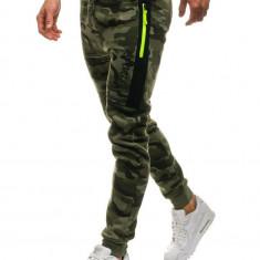 Pantaloni joggers sportivi pentru bărbat camuflaj-verde Bolf ML230