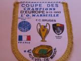 Fanion fotbal Olympique de Marseille - Club Brugge,Champions Cup, 1992