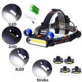 Lanterna Frontala 2LED Mobile+COB 3W Acumulatori 18650 la USB SWD4