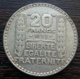 (A748) MONEDA DIN ARGINT FRANTA - 20 FRANCS FRANCI 1933