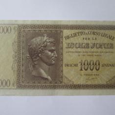 Rara! Grecia-Insulele Ionice(Corfu/Kefalonia) 1000 Drahme 1941 ocup.Italia WWII