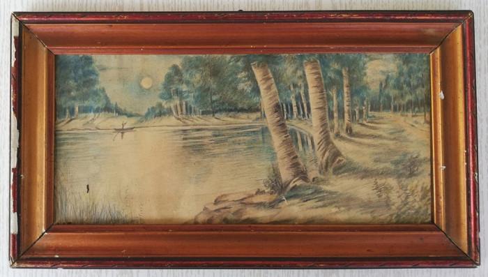 Tablou 1946 pastel Peisaj romantic semnat 21x39 cm