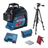 Nivela laser cu linii Bosch, 30 m, receptor 120 m, precizie 0.3 mm/m, clasa laser 2, valiza profesionala inclusa, IP54